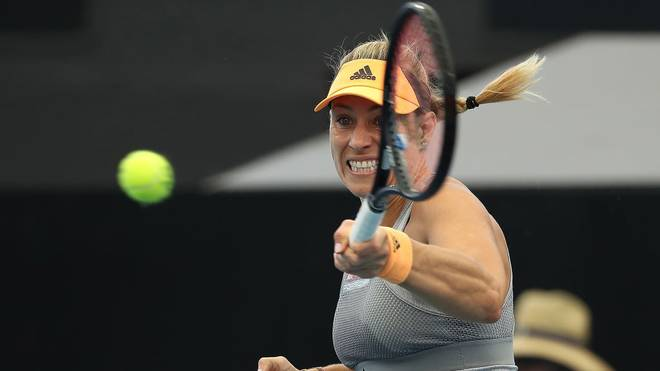 ADELAIDE, AUSTRALIA - JANUARY 15: Angelique Kerber of Germany plays a forehand to Dayana Yastremska of the Ukraine during day four of the 2020 Adelaide International at Memorial Drive on January 15, 2020 in Adelaide, Australia. (Photo by Paul Kane/Getty Images)
