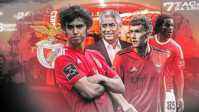 Joao Felix (l.), Luca Waldschmidt (2.v.r.) und Renato Sanches (r.) trugen alle schon das Benfica-Trikot