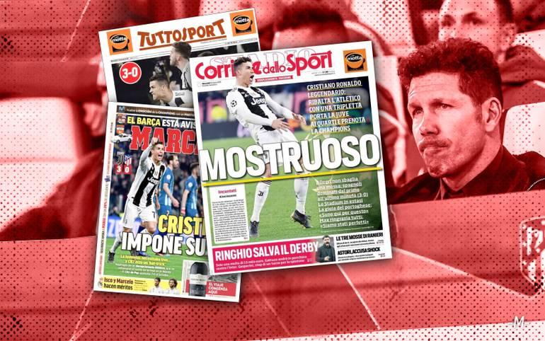 Nach der erfolgreichen Aufholjagd gegen Atletico Madrid feiern nicht nur die italienischen Medien den Turiner Hattrick-Helden Cristiano Ronaldo. SPORT1 zeigt internationale Pressestimmen zur CR7-Show im Achtelfinal-Rückspiel der Champions League