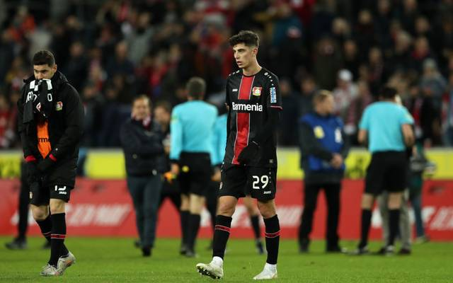 COLOGNE, GERMANY - DECEMBER 14: Kai Havertz of Bayer 04 Leverkusen reacts following defeat in the Bundesliga match between 1. FC Koeln and Bayer 04 Leverkusen at RheinEnergieStadion on December 14, 2019 in Cologne, Germany. (Photo by Lars Baron/Bongarts/Getty Images)
