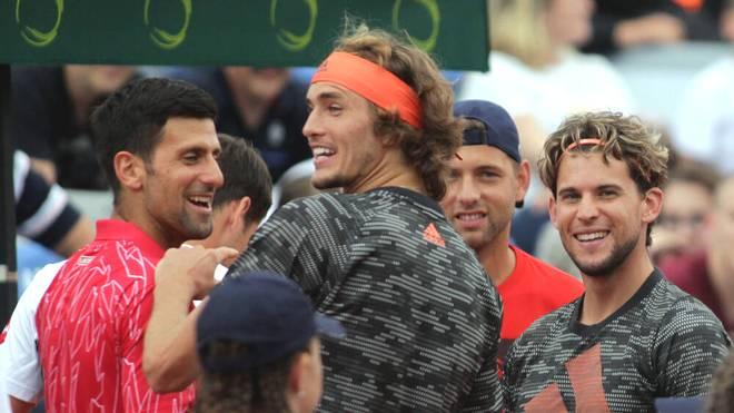 Novak Djokovic, Alexander Zverev und Dominic Thiem (v.l.) bei der Adria Tour