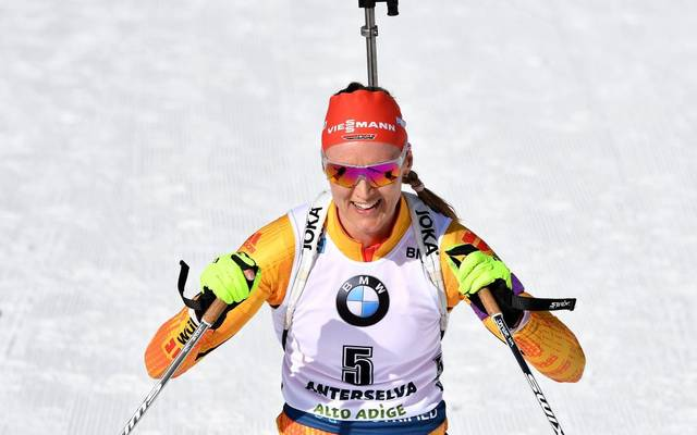 Germany's Denise Herrmann reacts after placing second of the IBU Biathlon World Cup 10 km Women's pursuit in Rasen-Antholz (Rasun Anterselva), Italian Alps, on February 16, 2020. (Photo by Tiziana FABI / AFP) (Photo by TIZIANA FABI/AFP via Getty Images)
