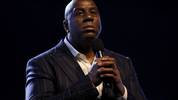 CHICAGO, ILLINOIS - FEBRUARY 16: Magic Johnson speaks to the crowd before the 69th NBA All-Star Game at the United Center on February 16, 2020 in Chicago, Illinois. NOTE TO USER: User expressly acknowledges and agrees that, by downloading and or using this photograph, User is consenting to the terms and conditions of the Getty Images License Agreement. (Photo by Jonathan Daniel/Getty Images)