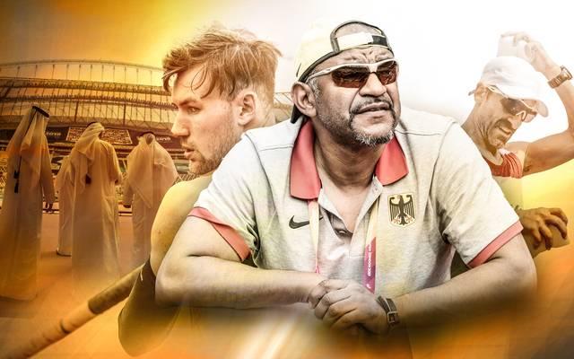 Zehnkämpfer Niklas Kaul (l.) und Idriss Gonschinska sprechen über die Hitze von Doha