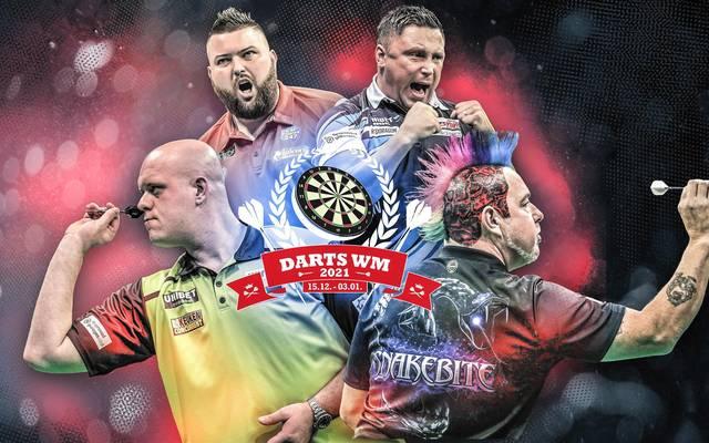 Heiße Titelkandidaten bei der Darts WM: Michael van Gerwen, Michael Smith, Gerwyn Price, Peter Wright (v.l.)