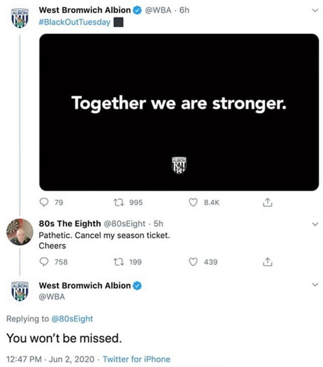 West Bromwich geht konsequent mit einem kritischen Kommentar eines Fans um