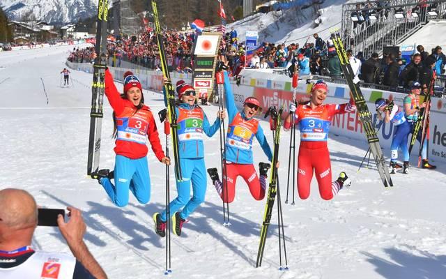 Von der WM-Bronze-Staffel 2019 fehlen Russland in diesem Winter Yulia Belorukova (l.) und Anastasia Sedova (2.v.l.)