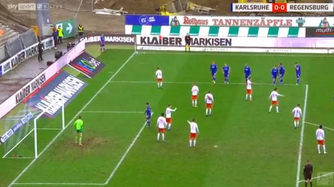 Mit dieser Eckball-Variante überraschte der Karlsruher SC
