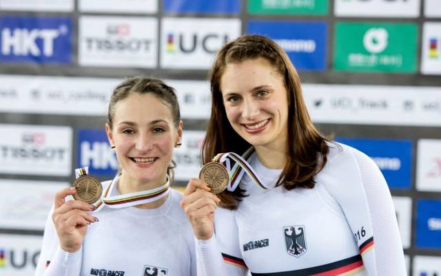 Kristina Vogel (L) und Miriam Welte bei der Bahnrad WM 2017 in Hong Kong