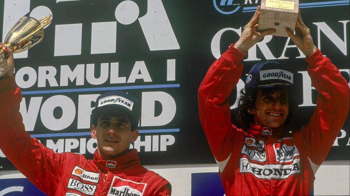 Alain Prost (r.) und Ayrton Senna (l.) standen oft zusammen auf dem Podium, Freunde wurden sie aber nicht