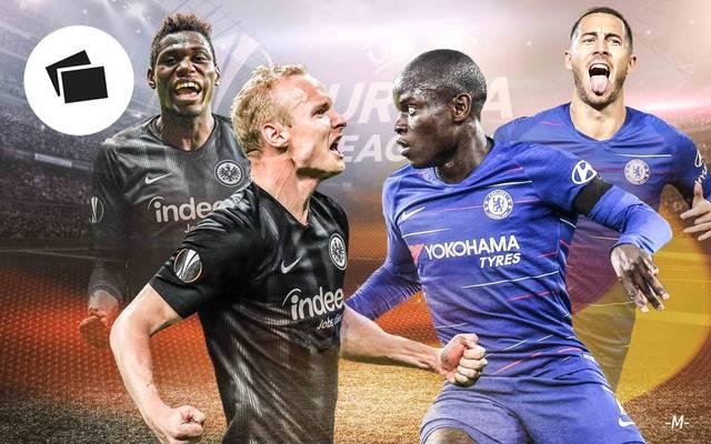 Auf Danny da Costa (l.) und Sebastian Rode (2.v.l.) wartet gegen Chelsea eine harte Aufgabe