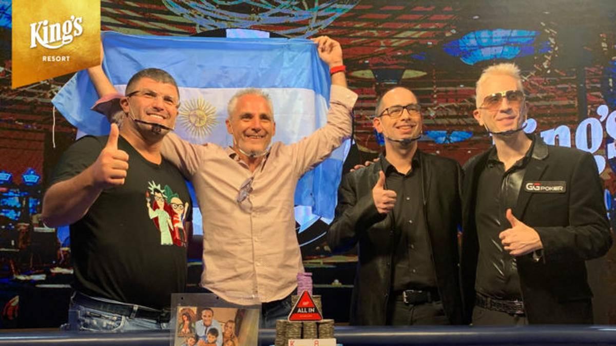 Damian Salas (2.v.l.) freut sich über den Sieg beim WSOP-Main-Event