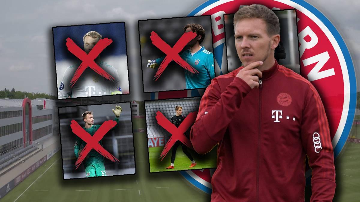 Der FC Bayern steckt im Torwart-Dilemma: Manuel Neuer weilt noch im Urlaub, drei andere Keeper sind verletzt. Hat Julian Nagelsmann bald nur noch einen Torhüter im Training?
