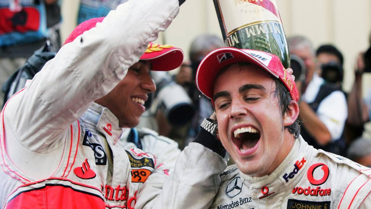 So unbeschwert ging es zwischen Lewis Hamilton (l.) und Fernando Alonso (r.) nur selten zu
