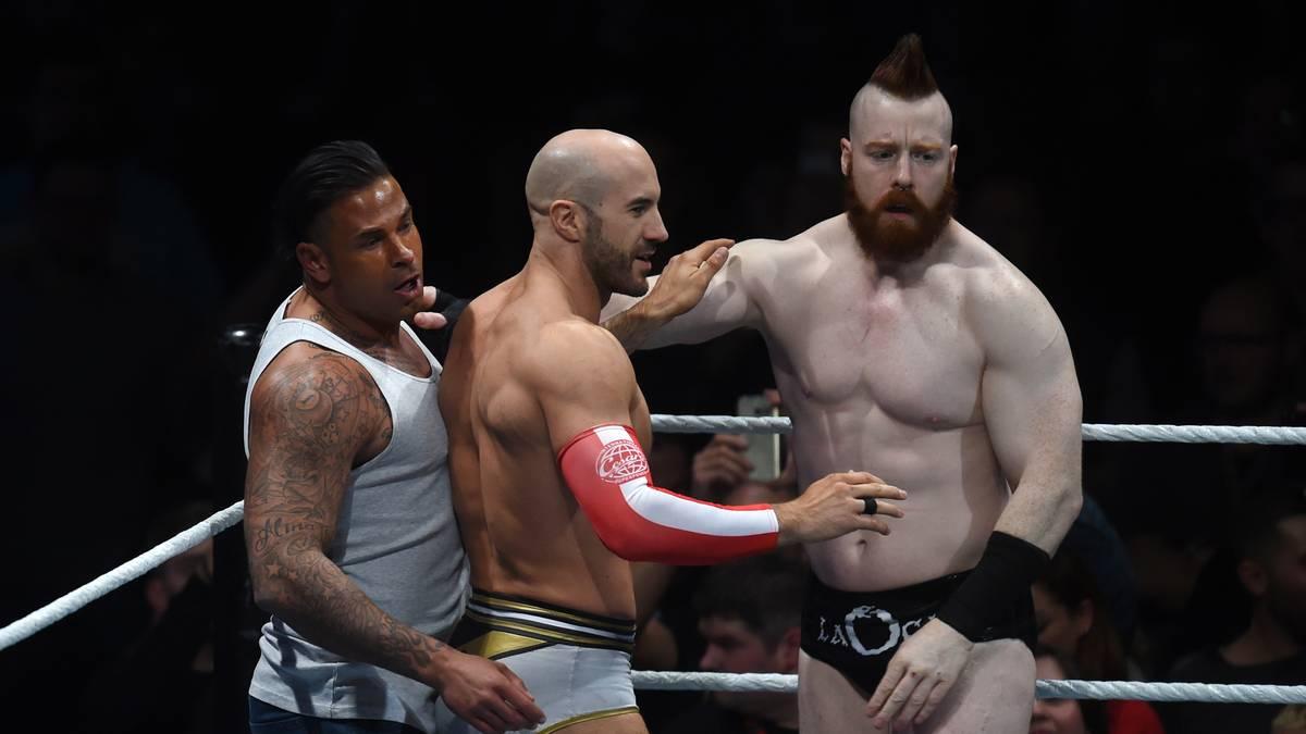 Sheamus (r.) und Cesaro (M.) waren Partner von Tim Wiese bei dessen WWE-Debüt