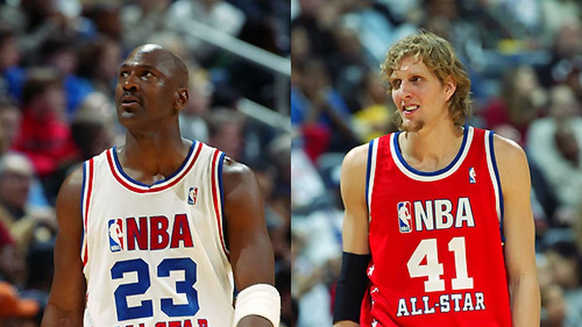 """Beim All-Star Game trifft er auch auf den Basketball-Superstar Michael Jordan. Es ist das letzte All-Star Game von """"His Airness"""""""