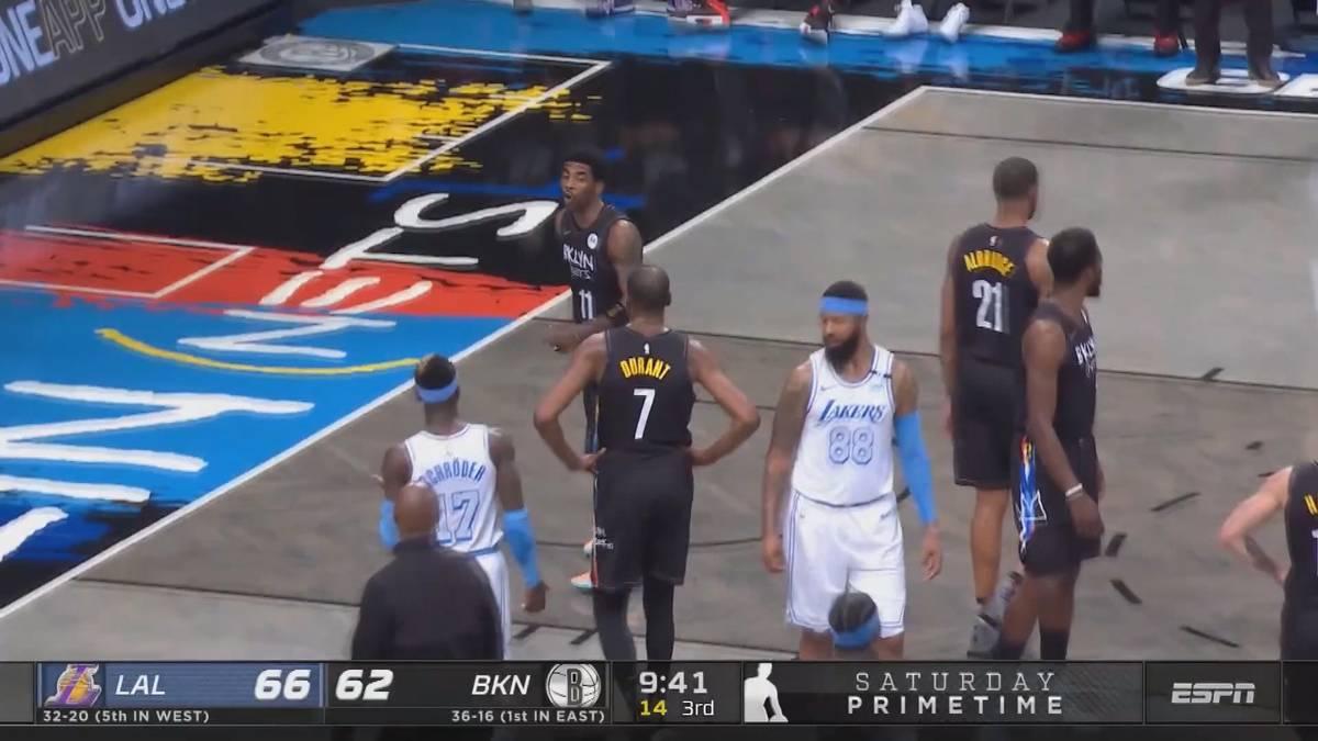 Die Los Angeles Lakers setzen ein starkes Zeichen gegen die Brooklyn Nets. Dennis Schröder wird vorzeitig rausgeworfen. Zuvor liefert er sich ein Scharmützel mit Kyrie Irving.