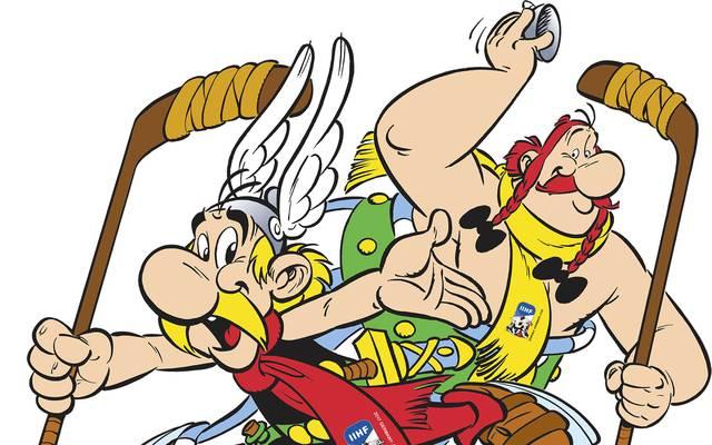 Asterix und Obelix beim Eishockey