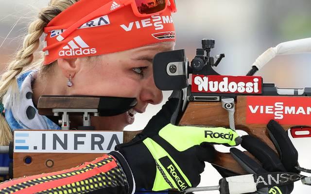 Denise Herrmann holt sich in Östersund den ersten Weltcup-Sieg ihrer Karriere