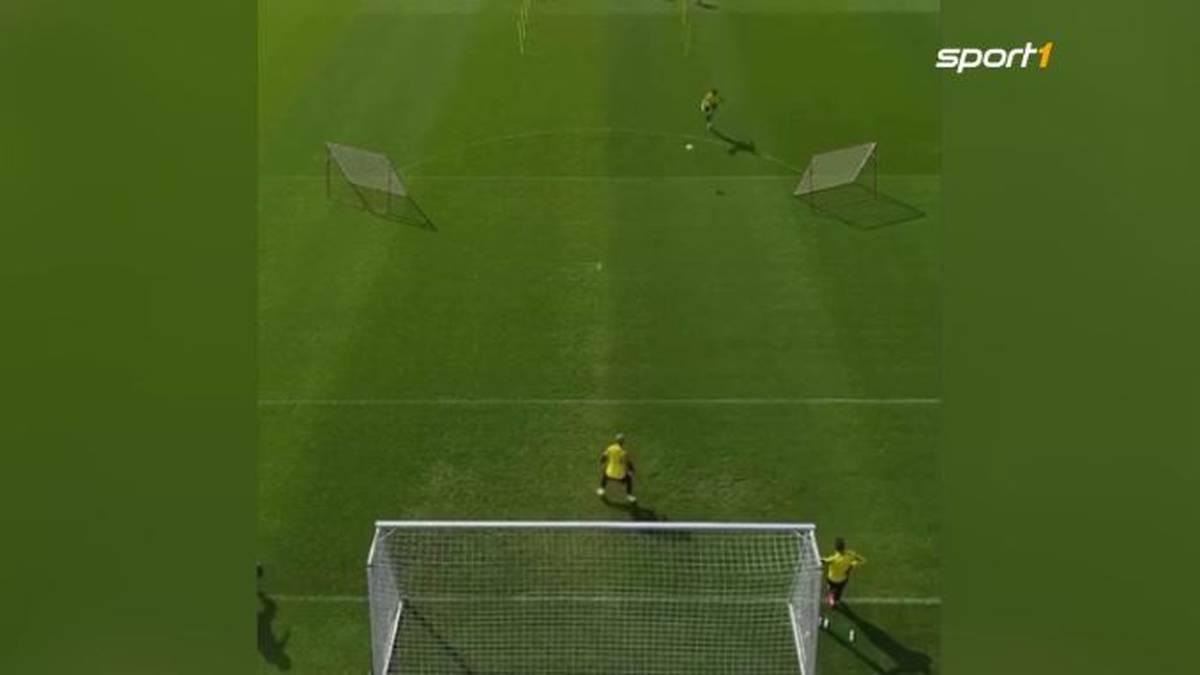 Ob Mats Hummels während der Quarantäne heimlich Torschuss trainiert hat? Kaum geht das Training wieder los, zeigt der BVB-Verteidiger gleich eine ganze Reihe an sensationellen Treffern.