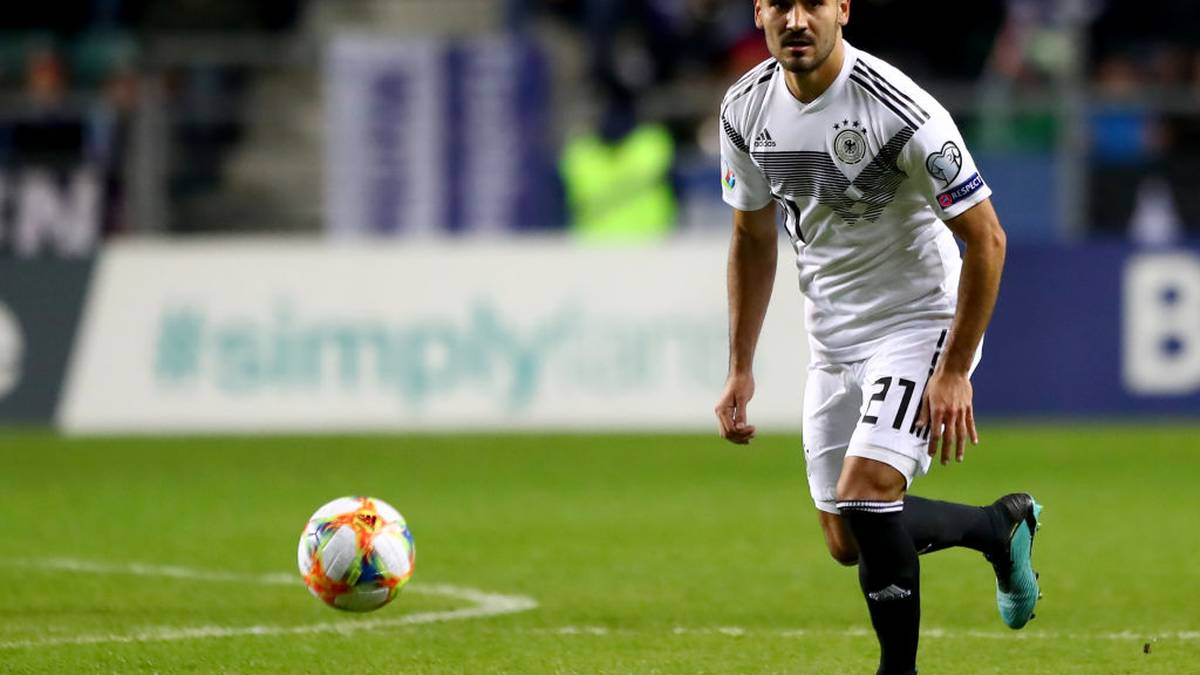 TALLINN, ESTONIA - OCTOBER 13: Ilkay Guendogan of Germany runs with the ball during the UEFA Euro 2020 qualifier between Estonia and Germany at A.Le Coq Arena on October 13, 2019 in Tallinn, Estonia. (Photo by Martin Rose/Bongarts/Getty Images)