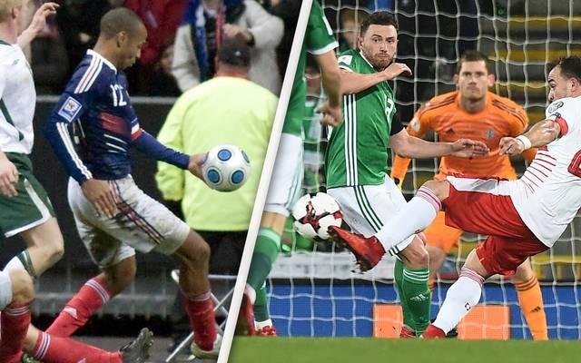 Der Hand-Elfmeter weckte bei den Nordiren Erinnerungen an Thierry Henry (l.)