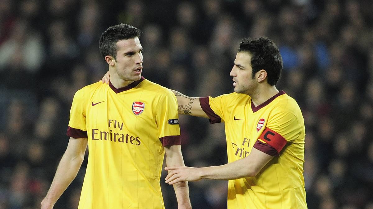 Cesc Fabregas (r.) und Robin van Persie spielten gemeinsam beim FC Arsenal