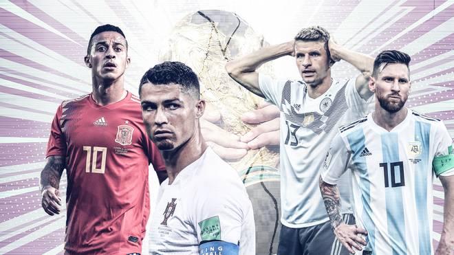Thiago, Ronaldo, Müller und Messi (v.l.) mussten ihren Weltmeister-Traum schon begraben