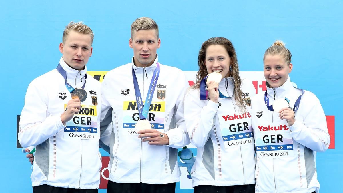 Schwimm-WM: Deutsche Freiwasser-Staffel holt Gold ohne Wellbrock
