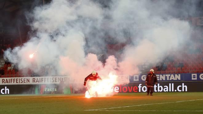 Das Spiel zwischen dem FC Sion und Grasshopper-Club Zürich wurde in der 55. Minute abgebrochen