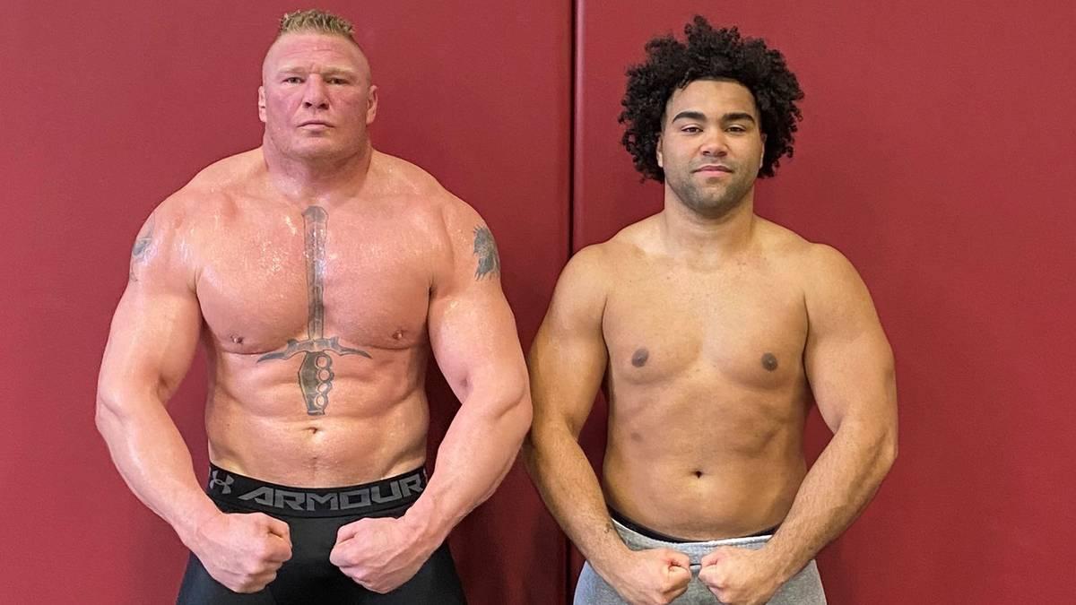 Gable Steveson (r.) trainierte 2019 zusammen mit WWE-Topstar Brock Lesnar