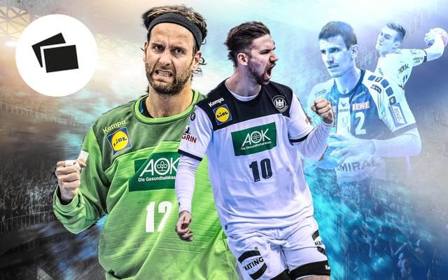 Silvio Heinevetter (l.) und Fabian Wiede (2.v.l.) wurden mit der deutschen Handball-Nationalmannschaft WM-Vierte