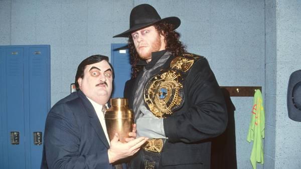 Paul Bearer (l.) war jahrelang Manager des Undertaker bei WWE