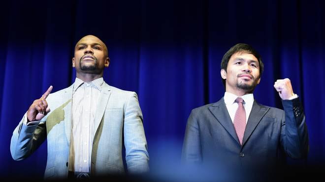 Floyd Mayweather und Manny Pacquiao bei einer Pressekonferenz vor dem Fight am 11. März 2015