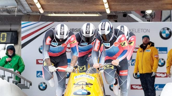 Pilot Nico Walther war mit seinen Anschiebern Kevin Kuske, Christian Poser und Eric Franke   in Altenberg nicht zu schlagen