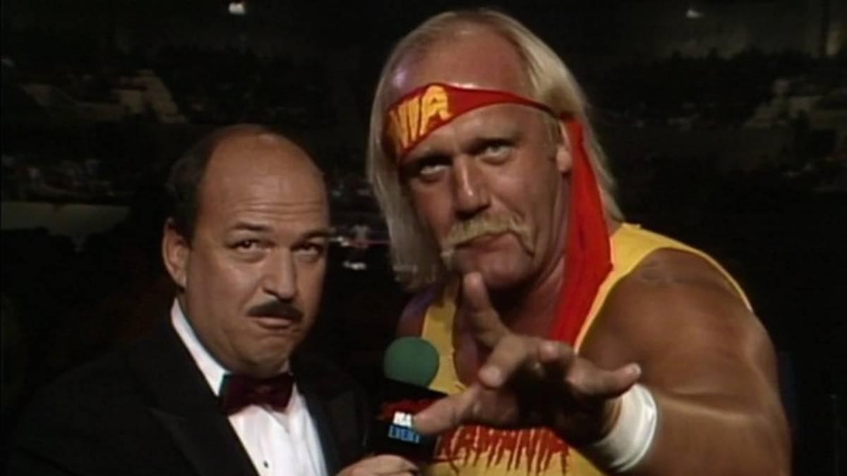 """""""Mean"""" Gene Okerlund (l.) führte bei WWE und WCW zahllose Interviews mit Hulk Hogan"""