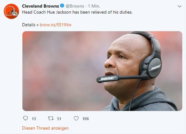 Die Cleveland Browns entlassen Jackson Nach lediglich drei Siegen in 40 Spielen wurde Jackson in Cleveland entlassen