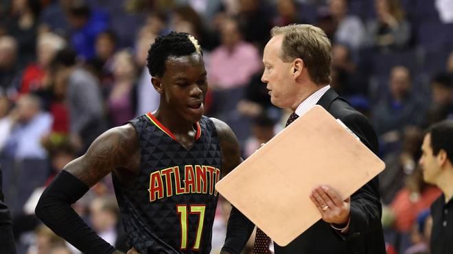 Hawks-Coach Mike Budenholzer (r.) und Dennis Schröder haben keinen guten Tag gegen die Raptors