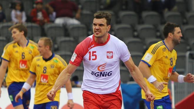 Michal Jurecki jubelt im WM-Achtelfinale für Polen gegen Schweden