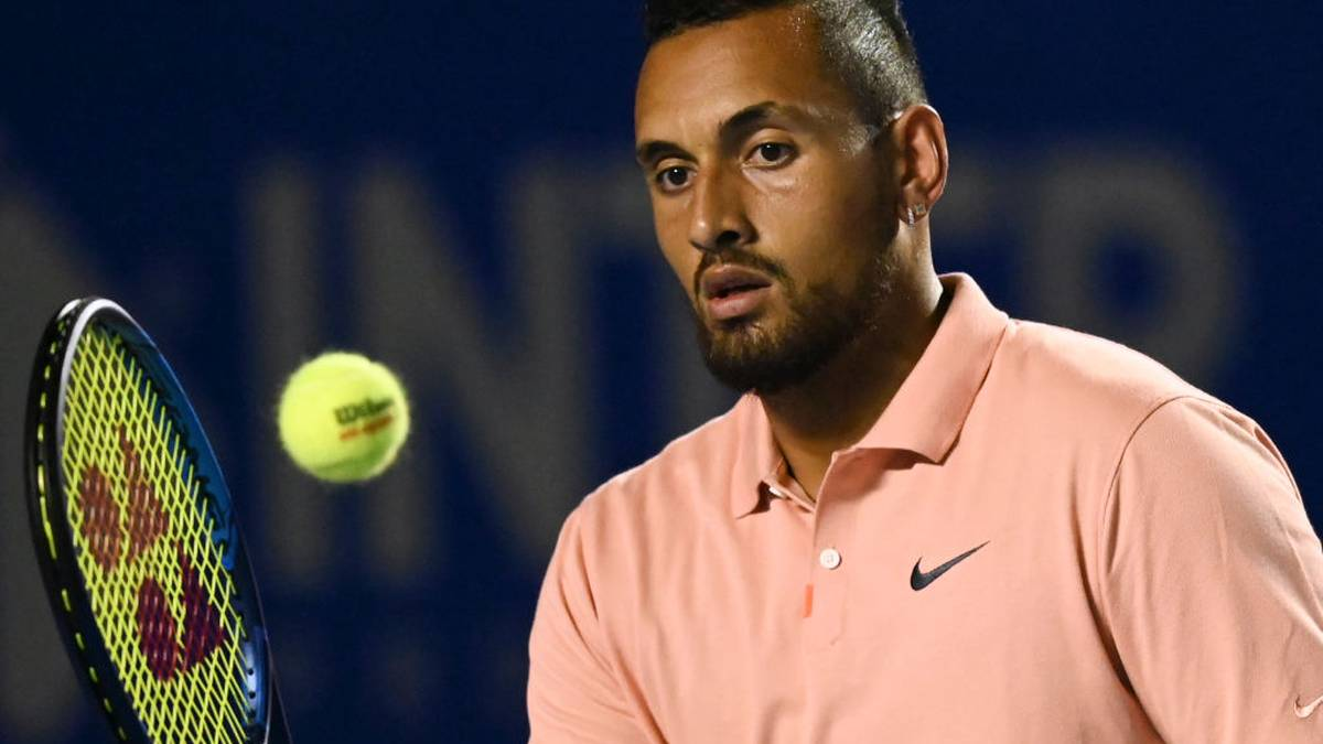 Australia's Nick Kyrgios hits the ball during his Mexico ATP Open 500 men's singles tennis match against France's Ugo Humbert in Acapulco, Guerrero State, Mexico on February 25, 2020. (Photo by PEDRO PARDO / AFP) (Photo by PEDRO PARDO/AFP via Getty Images)