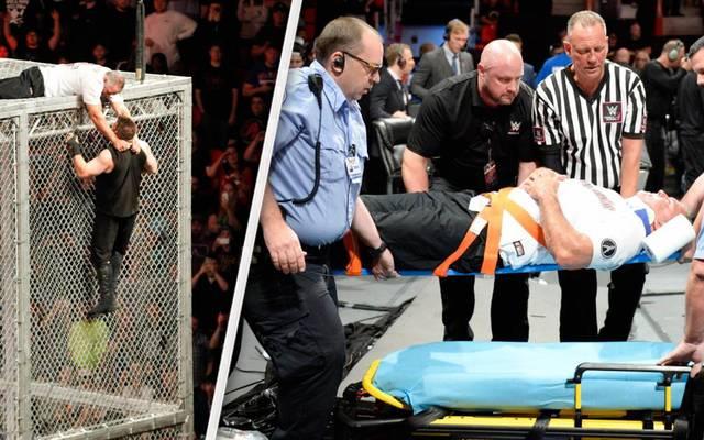 Shane McMahon (l.) und Kevin Owens kämpften bei WWE Hell in a Cell 2017 sechs Meter über dem Boden
