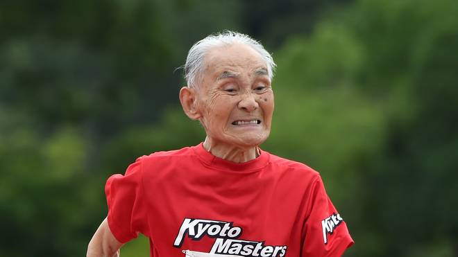 103-year-old Japanese sprinter Hidekichi Miyazaki runs during men's 100m dash
