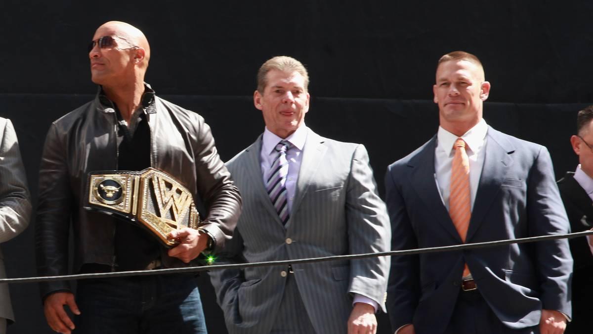 "Zielscheiben der ""Pipe Bomb"" (v.l.): The Rock, Vince McMahon, John Cena"