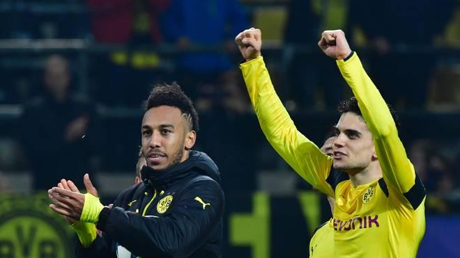 Pierre-Emerick Aubameyang (l.) und Marc Bartra stehen vor ihrem Abschied von Borussia Dortmund