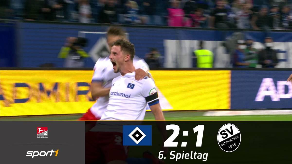 Trotz Überzahl gelingt es dem HSV zunächst nicht, eine Führung gegen Sandhausen über das Ziel zu retten. Am Ende jubeln dann aber doch die Hamburger.