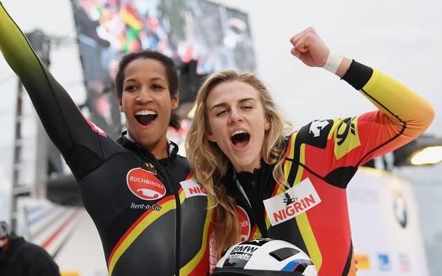 Hatten auch bei der WM in Whistler allen Grund zur Freude: Mariama Jamanka and Anschieberin Annika Drazek