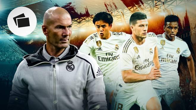 Trainer Zinedine Zidane (l.) könnte in München zum Beispiel Takefusa Kubo (2.v.l.) eine Bewährungschance geben