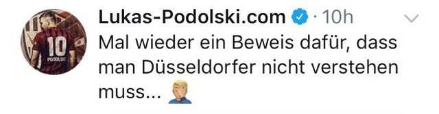Lukas Podolski äußerte sich via Twitter zum Fortuna-Theater