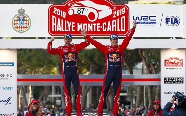 Sebastien Ogier feiert mit Julien Ingrassia seinen Sieg in Monte Carlo