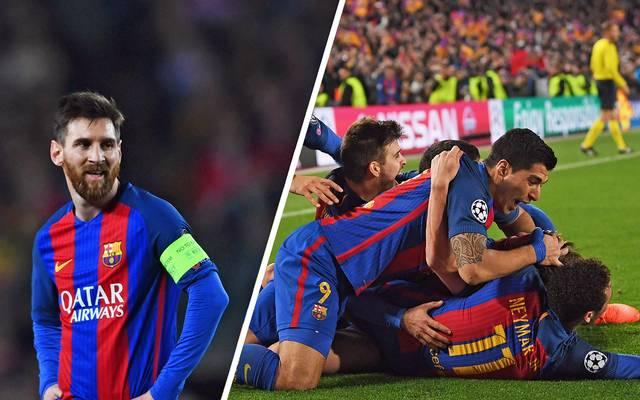 Lionel Messi vom FC Barcelona freute sich für sich über das 6:1 des FC Barcelona gegen Paris Saint-Germain im Achtelfinale der Champions League